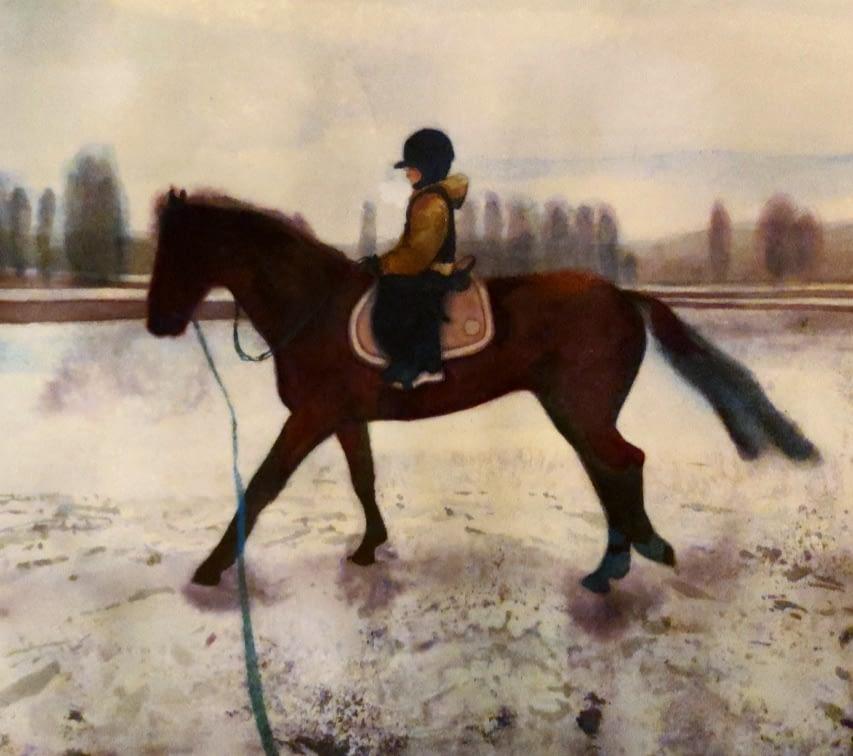 Veera Tammisen vesivärityö hevosesta ja ratsastajasta. Painting of Veera Tamminen horse and rider