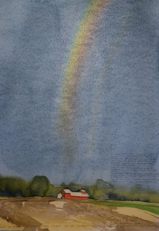 Beautiful painting by Veera Tamminen. Watercolor painting from Finland. Veera Tammisen maisema maalaus Turun Liedosta